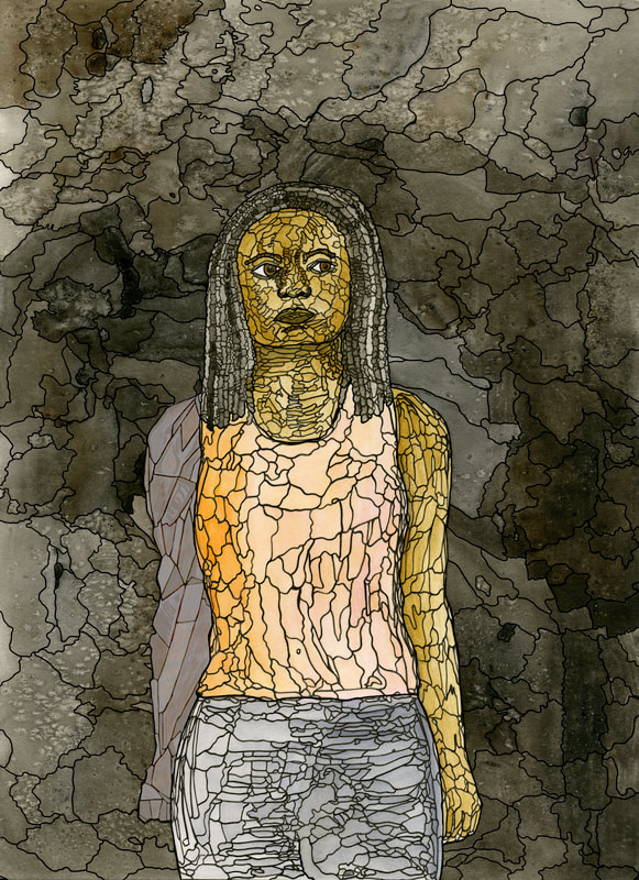 A watercolor portrait of a Black woman viewed from the thighs up. She is wearing a pink and orange tank top, blue pants, and has shoulder-length locs. One of her arms is grey stone. She stands in front of a smoky black and grey background. Black ink outlines each variation of color, so the style resembles stained glass.
