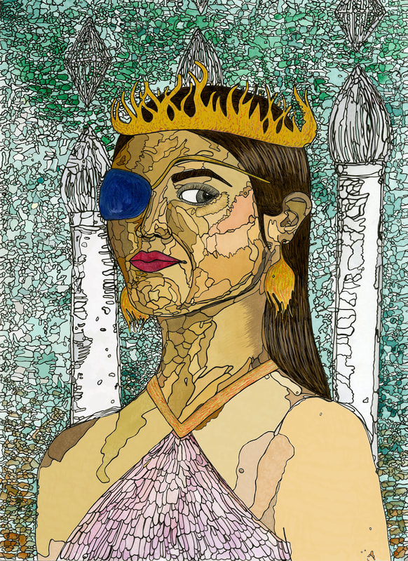 A watercolor portrait of a woman in three-quarters view, depicted from the shoulders up. She's wearing a crown and an eyepatch and has dark brown hair, light brown skin, and magenta lips. There are towers in the background with diamonds floating over them. Black ink outlines every variation in color, so the style resembles stained glass.