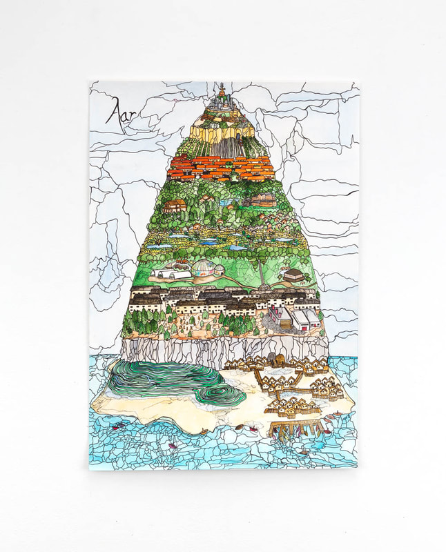 A detailed watercolor and black ink drawing of a mountain island with beaches, rice terraces, and homes on stilts at the base, a city at the peak, and forests, gardens, homes, and farms in between.