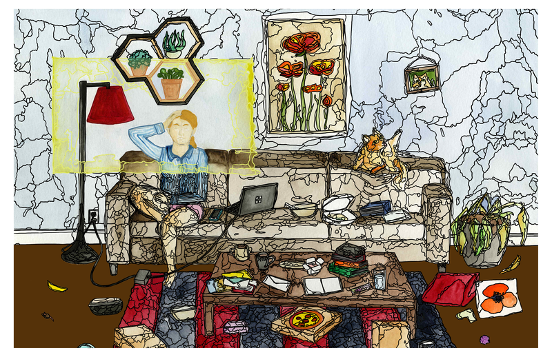 A watercolor and black ink living room scene, depicting a white, blonde woman seated on a couch surrounded by the detritus of a busy home life, including empty takeout boxes, books and unopened mail, electronics, a cat and cat toys, and a dead house plant. She has her hand on her head, signaling stress or exasperation.